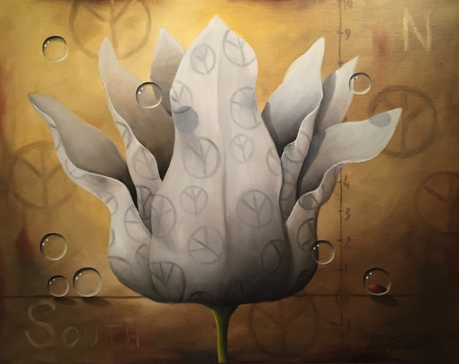 """Fredsblomma"" (Oljemålning 73x92 cm)"