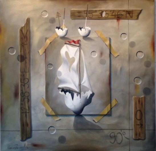 """""""Strandhugg"""" (Oljemålning Duk/på duk 110x110 cm)"""