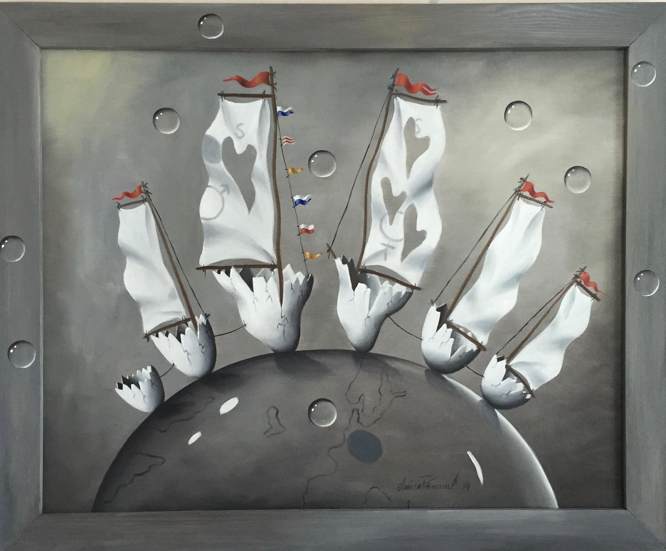 """"""" Spännande möte"""" (Oljemålning 73x92 cm)"""